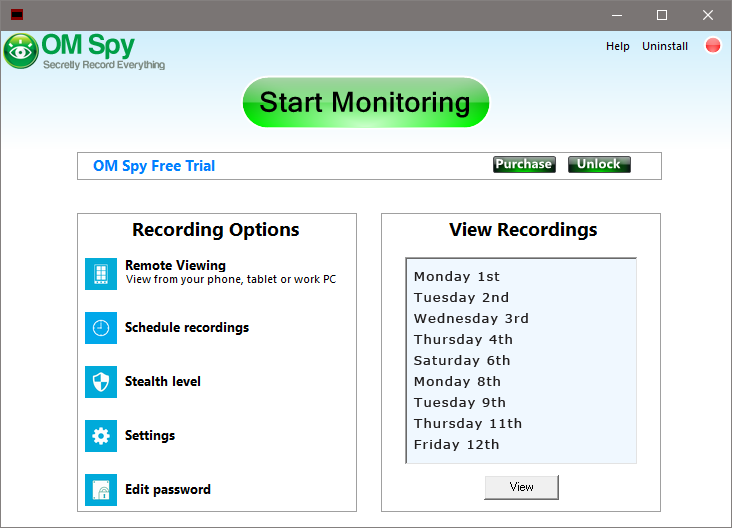 View Spy Software Recordings - Step 2